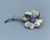 Hobe Sterling Silver Flower and Glass Cabochon Ring