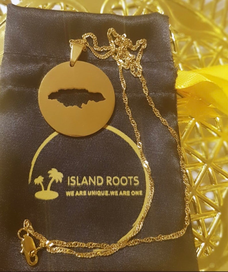 Jamaican Round Map Necklace