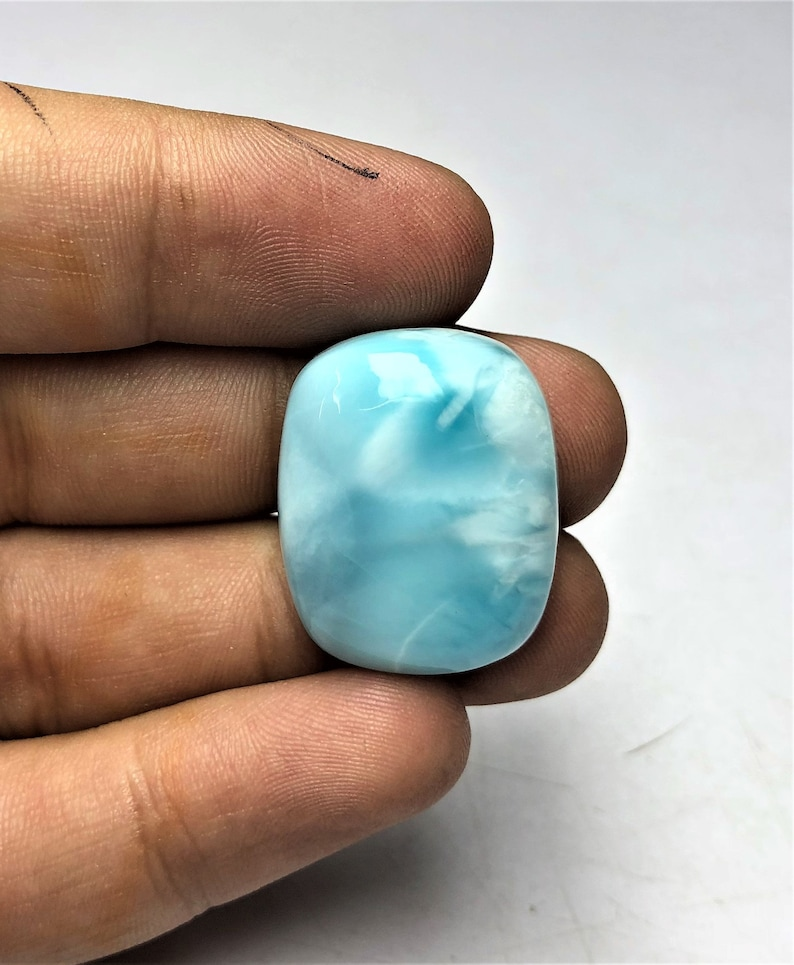 Awesome 100/% Natural Larimar Cabochon AAA+ Top Quality Cushion Shape 41 Ctr Blue Larimar gemstone wholesale price 24X19X8 Smooth Polished
