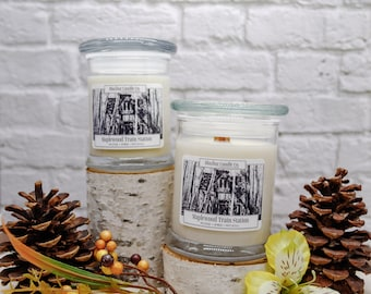 Maplewood Train Station Soy Candle | All Natural Soy Candle | Soy Candle | Hand-poured Soy Candle | Wooden Wick Candles