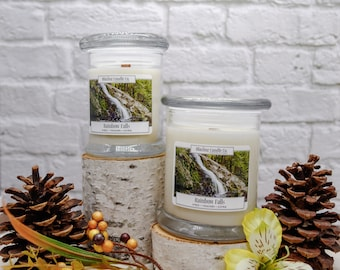 Rainbow Falls Soy Candle | Natural Soy Candles | Hand-poured Soy Candles | Wooden Wick Candles | Gift for him
