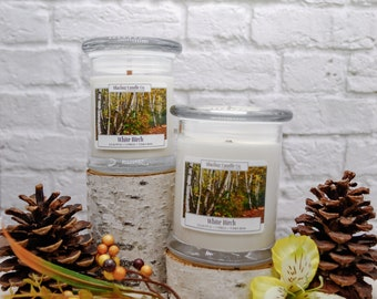 White Birch Soy Candle | All Natural Soy Candle | Soy Candle | Hand-poured Soy Candle | Wooden Wick Candles