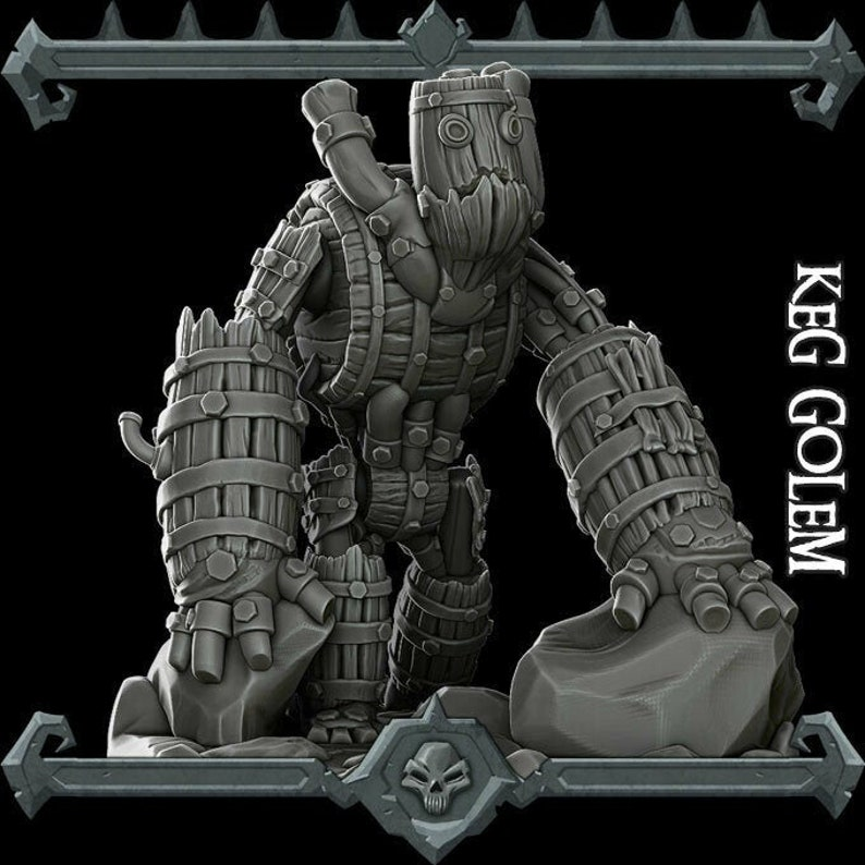 Keg Golem  Resin Miniature  Many Size Options dungeons And image 0