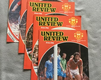 """6e00ab55a Set of 5 Manchester United Matchday """"United review"""" programmes from season  1980 81"""