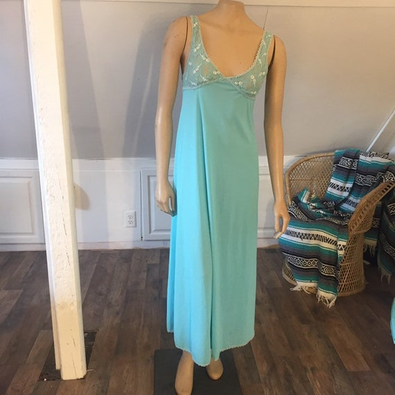 Vintage Nightgown Small, Women's Nightgown, Blue N