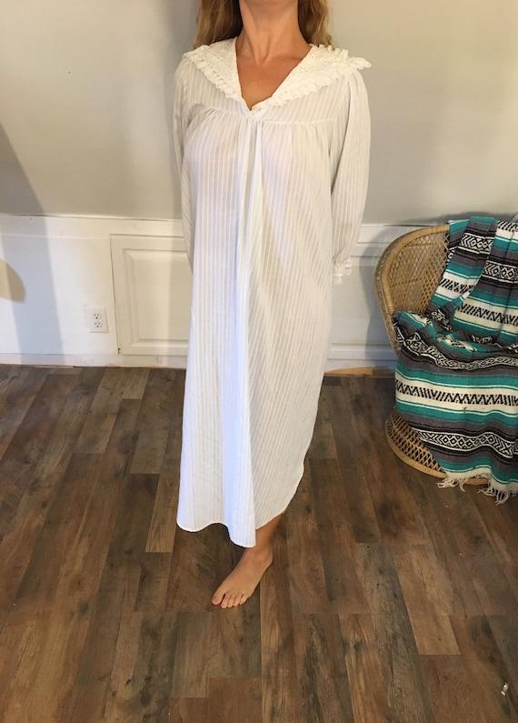 Evensong Striped Nightgown, Small, Vintage Nightgo
