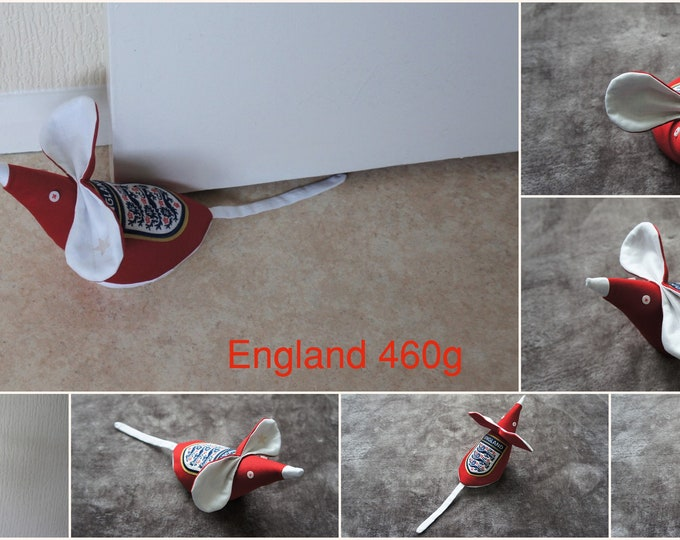 England Football door stop mouse. Red and White, removable cover. Made from recycled fabric and genuine England badge from a damaged shirt.