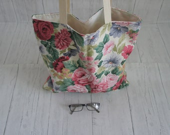 Shopping Tote Bag Floral Rose Printed Recycled Fabric Fully Lined Cotton Handles Limited Stock Strong easily taking 8kg Machine Washable