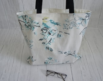 Recycled Fabric Shopping Market Tote Bag Strong Machine Washable Cream Fabric Blue floral and bird print Handmade in the UK Limited Stock