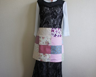 Patchwork-Half apron-Craft apron-Teachers apron-Apron-with-hidden-pocket-long-straps-and-rear-lining