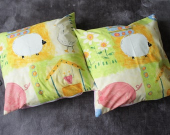 Set of 2 large floor cushion covers 58x60cm covers ideal for 62x62cm cushion pads (not included) Farmyard Print with pink or beige backing