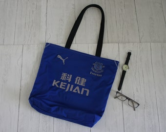Everton shopping tote market bag made from a damaged recycled 2002 season home football shirt. Fully lined with internal zip pocket.