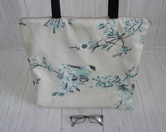 Recycled Fabric Zip Top Shopping Market Tote Bag Strong Machine Washable Cream Fabric Blue floral and bird print Handmade Limited Stock