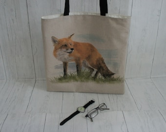 Fox Shopping Market Shoulder Tote Bag. Strong taking 8kg easily. Fully Lined. Machine Washable. Wildlife and Nature Bags.