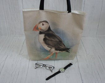 Puffin Shopping Bag with internal zip pocket Strong taking 8kg, fully lined and machine washable. A great Market, Tote, or shoulder bag
