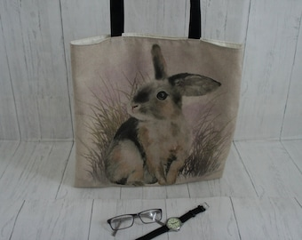 Rabbit Shopping Market Shoulder Tote Bag. Strong taking 8kg easily. Fully Lined. Machine Washable. Wildlife and Nature Bags.