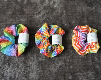 Pack of 3 Rainbow Scrunchies Hair Ties. Colourful Scrunchies. Hair Bobbles, Hair Ties. Zigzag. Sparkle. Stitch. Sent in recyclable packaging