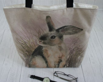 Rabbit Shopping Bag with internal zip pocket Strong taking 8kg, fully lined and machine washable. A great Market, Tote, or shoulder bag