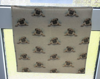 Letter Catcher Pugs print fabric.  Slimline. East to install. Mail Catcher. Letterbox Bag. Post Catcher. Fabric letter catcher.