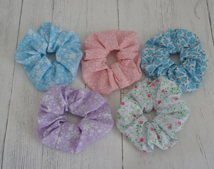 Five Pack Scrunchies Pastel Colour Floral. Blue, Pink and Lilac pastel colours with floral print and strong elastic insert.