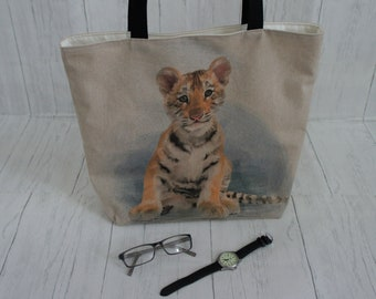 Tiger Cub Shopping Bag with internal zip pocket Strong taking 8kg, fully lined and machine washable. A great Market, Tote, or shoulder bag
