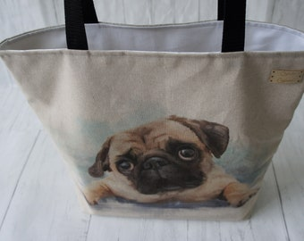 Shopping Tote Market Bag Strong Reliable Fully Lined Machine Washable Fabric Shoulder Bag Handmade in the UK Dog Pug Print Fabric