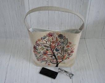 Large Top Handle Shoulder Bag Floral Tree Tapestry Outer Fabric Inner Zipped And Open Pocket Magnetic Clasp Fully Lined Machine Washable