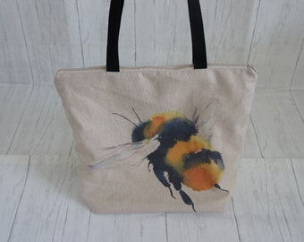Zip Top Shopping Tote Market Bag with External Zip Pocket and Bee Print Front. Strong, easily taking 8kg, and machine washable.