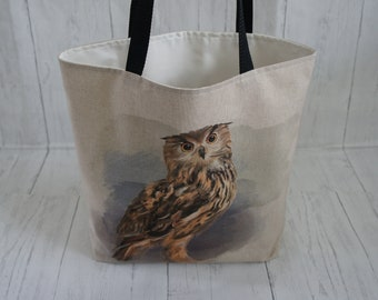 Tawny Owl Shopping Tote Market Bag Strong Reliable Fully Lined Machine Washable Fabric Shoulder Bag Handmade in the UK Bird Of Prey Nature