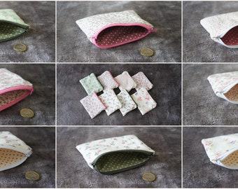 Coin Purses Floral Flower Lined Zip Top Pouch Pocket Purse Lipstick Bag