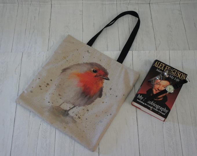 Shopping Market Shoulder Tote Bag Robin Red Breast. Strong taking 8kg easily. Fully Lined. Machine Washable. Wildlife and Nature Bags.