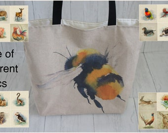 Shopping Market Tote Shoulder Bag Animal Theme. Deep base tote 41x37cm with 70cm handles, fully lined. Strong, reliable and washable.