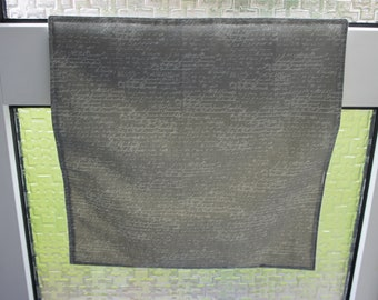 Grey letter catcher with wording, easy to fit, with so many other benefits too. Post Catcher. Letter box bag. Slimline letter catcher.