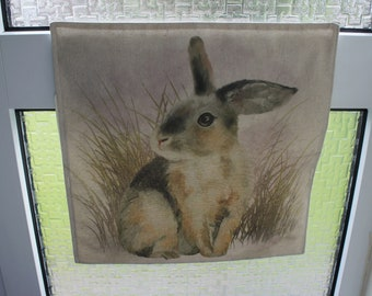 Letter Catcher Rabbit print fabric.  Slimline. East to install. Mail Catcher. Letterbox Bag. Post Catcher. Fabric letter catcher.