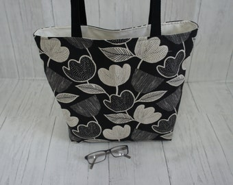 Monochrome black and off white tulip shopping tote shoulder bag fully lined machine washable and strong easily taking 8kg of weight