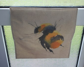 Letter Catcher Bumble Bee print fabric.  Slimline. East to install. Mail Catcher. Letterbox Bag. Post Catcher. Fabric letter catcher.
