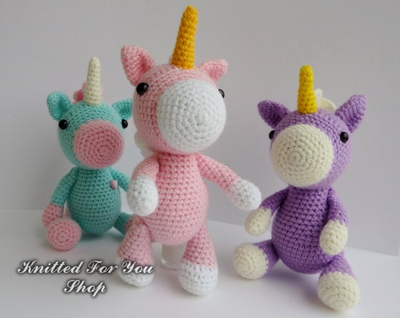 Puppy Makes Mischief Stuffed Animal, Knitted Unicorn Amigurumi Toy Childrens Gift Small Toy Stuffed Etsy