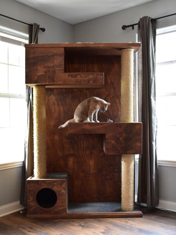 Custom Wooden Modern Cat Tower Etsy
