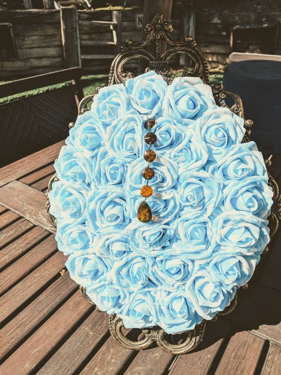 Blue and White RosesBlueWhite  Flower Frame Floral Picture Faux Flower Frame Flower Wall Artificial Flower FrameAntique Frame