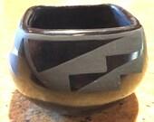 Flora Naranjo Santa Clara Pueblo Indian Blackware Pottery Bowl
