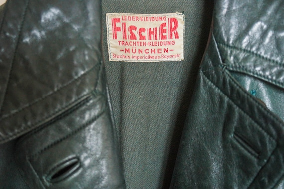 VINTAGE 1960s Fischer unisex leather trench coat