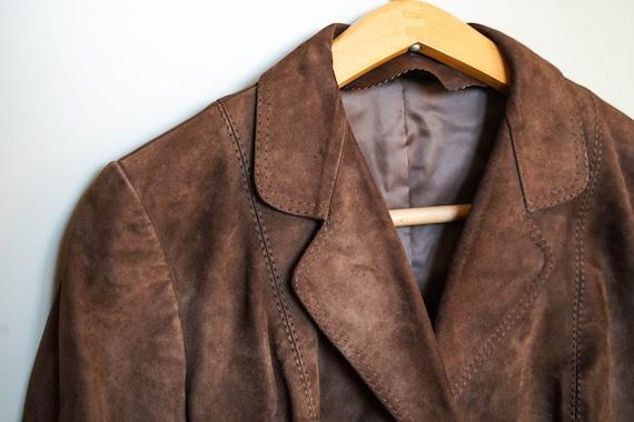 VINTAGE 1970s dark brown suede leather jacket blaz