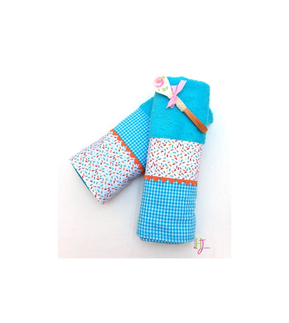 Kitchen towel, turquoise kitchen towel, kitchen towel, cloth with fabric  trimming, mother\'s gift, towelling, cotton, kitchen accessories