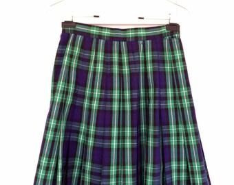 1cd292f0b Pleated Plaid School Skirt 1960's Small