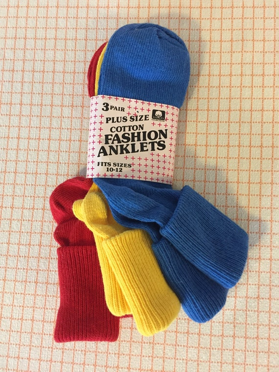 size Large vintage 1990/'s 3 Pairs Anklets Primary Colors