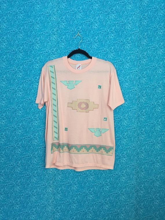 Vintage Southwestern Snap Shirt Western Wear Coral  Salmon Unisex