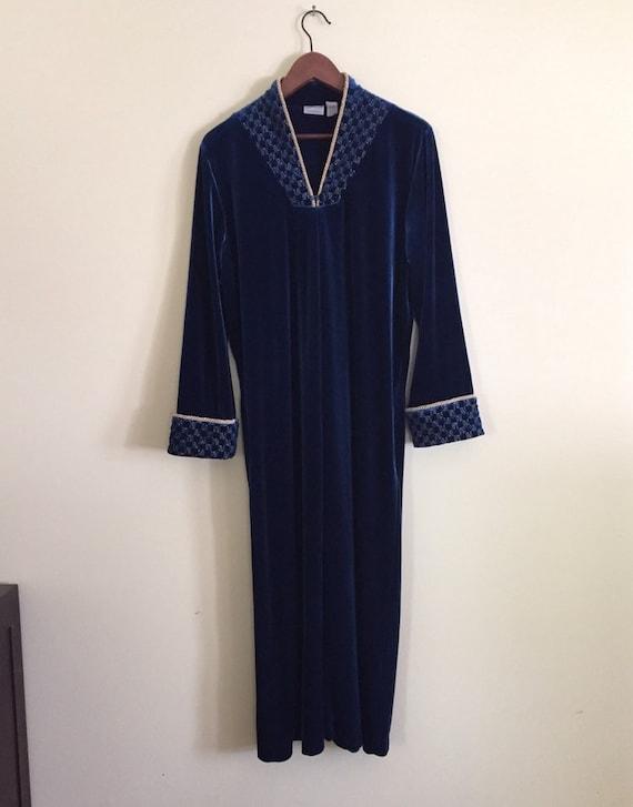 Vintage Royal Blue Velvet Robe M L XL
