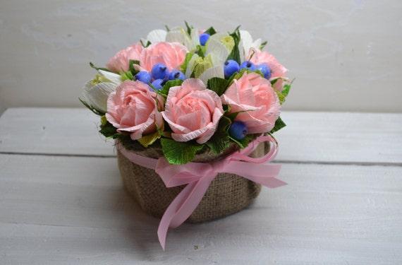 Paper Roses Crepe Paper Flowers Wedding Flowers Nursery Etsy
