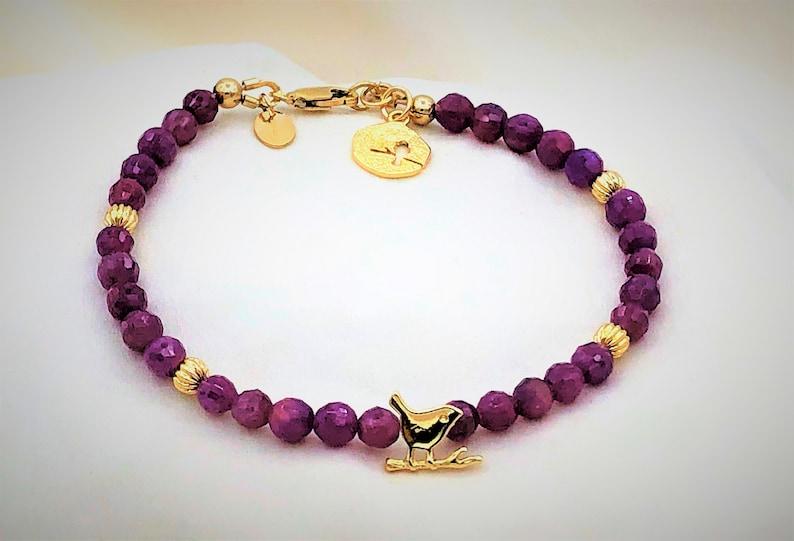 Ruby Bird Bracelet in Gold  July Birthstone  40th Anniversary  gift for her  Zodiak Bracelet  Base Chakra  Heart Chakra