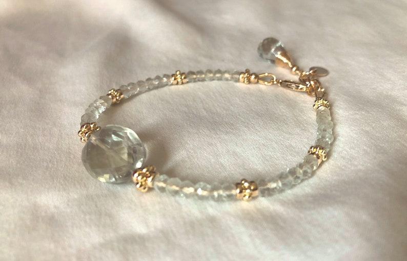 bracelet in Gold  August Birthstone Green Amethyst Prasiolite